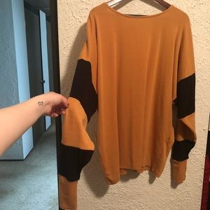 Oversized Mustard Sweater w/ Black Stripes S